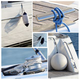 Collage of modern sailing boat stuff - winches, boat fenders. Ropes and snatch cleats Stock Photography