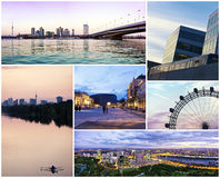 Collage of the modern way of Vienna at dusk. Royalty Free Stock Photos