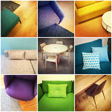 Collage moderno della mobilia Fotografie Stock