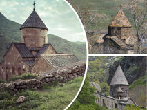 Collage of Monasteries ( Armenia ) images - travel background (m Stock Photo