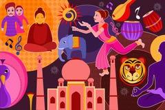 Collage montrant le patrimoine culturel riche de l'Inde illustration de vecteur