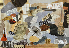Collage mood board made of torn pieces of paper Royalty Free Stock Images