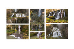 Collage with more photos of Marmore fall Stock Image