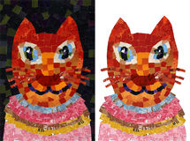 Cat portrait collage mosaic illustration. Collage mosaic illustration of a colorful smiling cat vector illustration