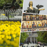 Collage of Most Beautiful and Breathtaking Places in Sofia - Bul Royalty Free Stock Photo