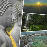 Collage of Most Beautiful and Breathtaking Places in Sri Lanka - Royalty Free Stock Photos
