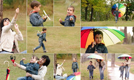 Collage of mother and son picnic Royalty Free Stock Photo