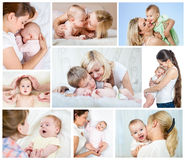 Collage mothers day concept. Loving mom with baby. royalty free stock images