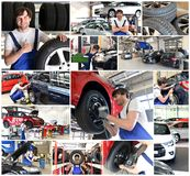 Collage with motives in a car repair shop - car repair, change t royalty free stock photo