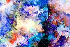 Collage motivo de la flor multicolora abstracta con efecto dinámico del movimiento Arte de ordenador ilustración del vector