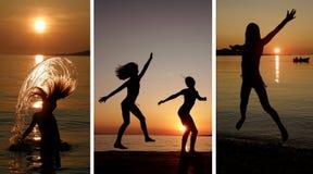 Collage-muchachas que bailan y que saltan en la puesta del sol fotos de archivo