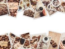 Collage muchas imágenes del café ilustración del vector