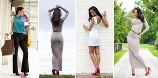 Collage, mujeres jovenes hermosas en vestido foto de archivo