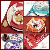 Collage multi de los cubiertos de la mesa de comedor del día de fiesta Fotografía de archivo libre de regalías