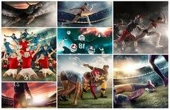 Collage multi de los deportes sobre baloncesto, jugadores de fútbol americano y mujer corriente apta foto de archivo