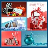 Collage multi de los símbolos y de los regalos del día de fiesta Imagen de archivo