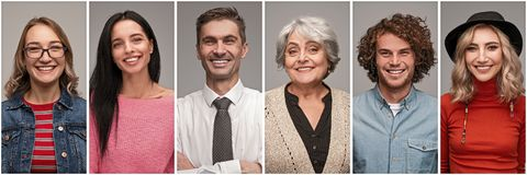 Collage of multi-generational people smiling stock image