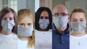 Collage of multiaged people wearing medical mask