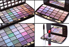 Collage, Multicolored eye shadows palette, red Lipstick and blac Stock Photography