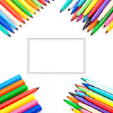 Collage of multicolored felt-tip pens Stock Photos