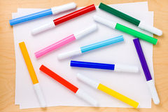 Collage of Multicolored Felt-tip Pens Royalty Free Stock Photos