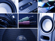 Collage of music. Collage of technology related images stock photo