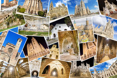 A collage of my best photos of churchs, monasterys and cathedrals Royalty Free Stock Photo