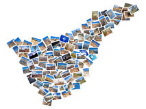 A collage of my best travel photos of Tenerife, forming the shape of Tenerife island, version 1. Royalty Free Stock Image