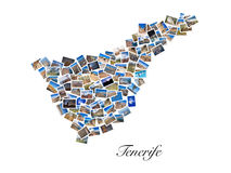 A collage of my best travel photos of Tenerife, forming the shape of Tenerife island, version 2. Royalty Free Stock Photos