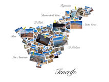 A collage of my best travel photos of Tenerife, forming the shape of Tenerife island. Stock Images