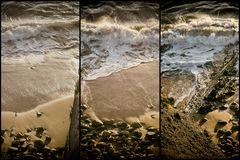 Collage nature, beach waves Stock Image