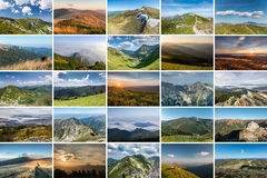 Collage of nature photos on theme of MOUNTAINS Royalty Free Stock Image