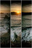 Collage nature, sunset at beach Stock Photos