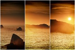 Collage nature, sunset at Cantabrian coast Royalty Free Stock Photography
