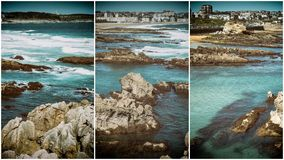 Collage nature, waves breaking in the beach Stock Images