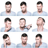 Collage of negative face expressions. On white background Royalty Free Stock Photo