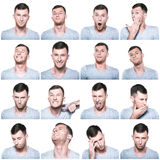Collage of negative and positive face expressions.  Royalty Free Stock Images