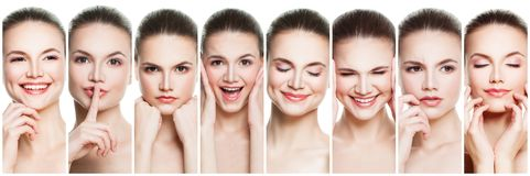 Collage of negative and positive female face expressions. Set of young woman expressing different emotions and gesturing isolated. On white backgroung royalty free stock photography