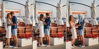 collage Nettes junges schönes Paar ist, scherzend nahe umarmend und zum kleinen Sommercafé am Hafen, das glückliche Lächeln im Fr lizenzfreie stockfotografie