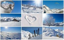 Collage nevoso del paesaggio di inverno Immagine Stock
