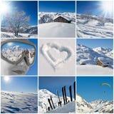 Collage nevoso del paesaggio di inverno Fotografia Stock