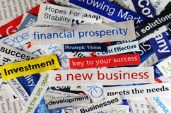Collage new business. Collage of newspaper headlines about the world economy Stock Photography