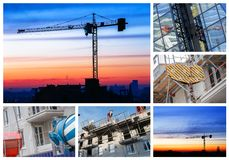 Collage of a new residential building Stock Photos