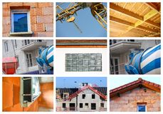 Collage of a new residential building Royalty Free Stock Photos