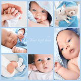 Collage newborn baby's photos Stock Photo