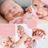 Collage of newborn baby's photos Stock Images