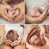 Collage of the newborn. Stock Photos