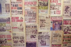Collage of the newspapers issued in 1973 in Santiago, Chile. Stock Photos