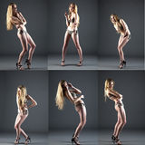 Collage nice girl in bikini and heels posing. Collage pretty girl with long blonde hair posing in studio in bikini and barefoot persons with heels on gray Royalty Free Stock Photo