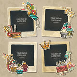 Collage of nice photo frame. Collage photo frame on vintage background. Album template for kid, baby, family or memories. Scrapbook concept, vector illustration Royalty Free Stock Photo
